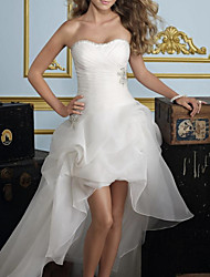 cheap -A-Line Strapless Asymmetrical Tulle Strapless Formal Made-To-Measure Wedding Dresses with Appliques / Draping 2020