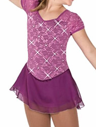 cheap -Figure Skating Dress Women's Girls' Ice Skating Dress Purple Spandex High Elasticity Training Competition Skating Wear Patchwork Crystal / Rhinestone Short Sleeve Ice Skating Figure Skating