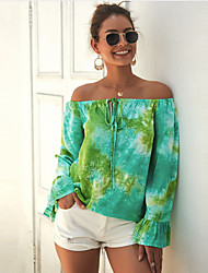 cheap -Women's Blouse Solid Colored Tops Off Shoulder Daily Red Yellow Green US6 / UK10 / EU38 US8 / UK12 / EU40 US12 / UK16 / EU44 US14 / UK18 / EU46