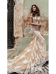 cheap -Mermaid / Trumpet Wedding Dresses Off Shoulder Court Train Lace Regular Straps Country Formal Casual with 2021