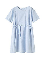 cheap -Kids Girls' Street chic Sophisticated Solid Colored Drawstring Short Sleeve Knee-length Dress Light Blue