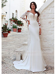 cheap -Mermaid / Trumpet Jewel Neck Sweep / Brush Train Lace Long Sleeve Country Illusion Sleeve Wedding Dresses with 2020 / Bell Sleeve