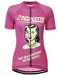 Недорогие -21Grams Ретро Жен. С короткими рукавами Велокофты - Розовый Велоспорт Джерси Верхняя часть Дышащий Быстровысыхающий Влагоотводящие Виды спорта Терилен Горные велосипеды Одежда / Слабоэластичная