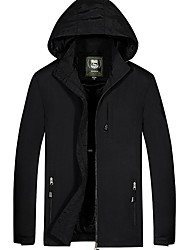 cheap -Men's Daily Fall & Winter Regular Jacket, Solid Colored Hooded Long Sleeve Polyester Black / Army Green / Navy Blue