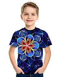 Недорогие -Дети Мальчики Активный Уличный стиль Цветочный принт 3D С принтом С короткими рукавами Футболка Лиловый