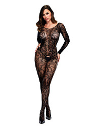 cheap -Women's Lace / Backless Babydoll & Slips / Bodysuits Nightwear Solid Colored Black White Red One-Size