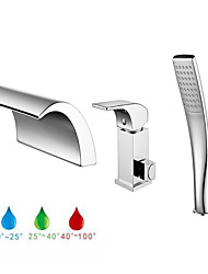 cheap -Bathtub Faucet - Contemporary Chrome Roman Tub Ceramic Valve Bath Shower Mixer Taps / Brass / Single Handle Three Holes