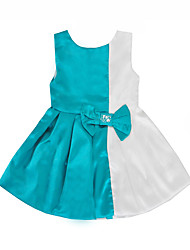 cheap -Kids Toddler Girls' Active Basic Color Block Bow Sleeveless Knee-length Dress Blue
