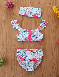 cheap -Toddler Newborn Girls' Basic Print Sleeveless Swimwear Blue
