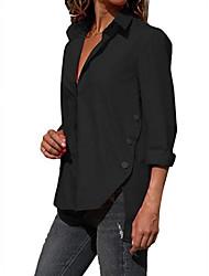 cheap -Women's Daily Shirt - Solid Colored Shirt Collar Black