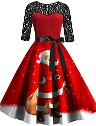 cheap -Women's Swing Dress Knee Length Dress 3/4 Length Sleeve Print Patchwork Print Fall Spring Casual Vintage Christmas 2021 Red S M L XL XXL