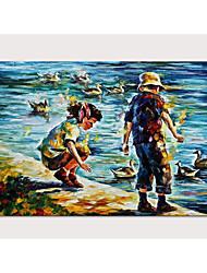 cheap -Oil Painting Hand Painted - People Pop Art Modern Stretched Canvas