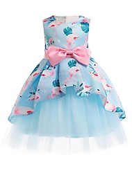 cheap -Ball Gown Ankle Length Pageant Flower Girl Dresses - Polyester Sleeveless Jewel Neck with Bow(s)