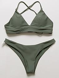 cheap -Women's Basic Wine Army Green Halter Thong Bikini Swimwear - Solid Colored S M L Wine