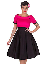 cheap -Audrey Hepburn Retro Vintage 1950s Wasp-Waisted Dress Women's Cotton Costume Black / Red / Fuchsia Vintage Cosplay Party Daily Wear Long Sleeve Midi