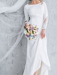 cheap -A-Line Jewel Neck Court Train Polyester Long Sleeve Formal Plus Size Wedding Dresses with Draping 2020