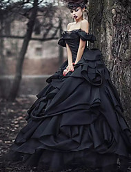cheap -Ball Gown Wedding Dresses Off Shoulder Court Train Lace Tulle Short Sleeve Sexy Black Modern with Lace Cascading Ruffles 2021
