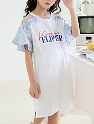 cheap -Kids Girls' Cute Street chic Color Block Short Sleeve Above Knee Dress White