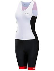 cheap -21Grams Women's Sleeveless Triathlon Tri Suit Black / White Plaid / Checkered Bike Clothing Suit UV Resistant Breathable Quick Dry Sweat-wicking Sports Plaid / Checkered Mountain Bike MTB Road Bike