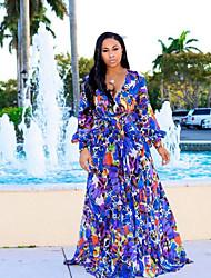 cheap -Women's Swing Dress - Geometric Blue Maxi Royal Blue Red M L XL XXL
