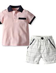 cheap -Baby Boys' Casual / Basic Houndstooth Short Sleeve Short Short Clothing Set Blushing Pink