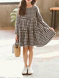 cheap -Kids Little Girls' Dress Plaid Black Dresses