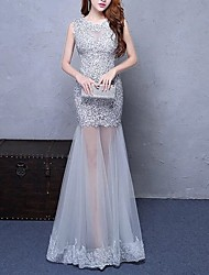 cheap -Mermaid / Trumpet Jewel Neck Floor Length Polyester Elegant Formal Evening / Holiday Dress with Appliques 2020