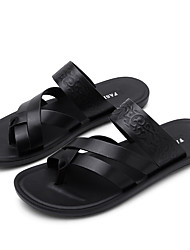 cheap -Men's Novelty Shoes Microfiber Spring & Summer Casual Slippers & Flip-Flops Breathable Black