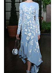 cheap -Women's Blue Dress Basic Daily Wear A Line Floral S M