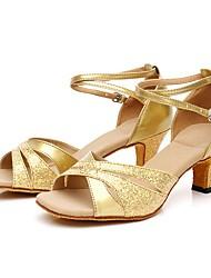 cheap -Women's Latin Shoes PU Heel Cuban Heel Dance Shoes Gold / Blue / Silver