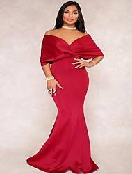 cheap -Women's Swing Dress - Solid Colored Maxi Black Wine Royal Blue S M L XL
