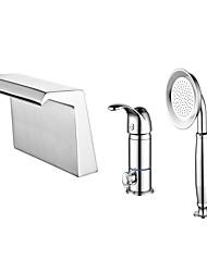 cheap -Bathtub Faucet - Contemporary Chrome Roman Tub Ceramic Valve Bath Shower Mixer Taps