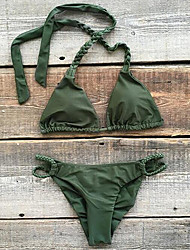 cheap -Women's Basic Army Green Halter Cheeky Bikini Swimwear Swimsuit - Solid Colored Lace up S M L Army Green