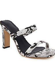 cheap -Women's Sandals Print Shoes Chunky Heel Open Toe PU Minimalism Spring & Summer Black / White / Pink / Gold / Party & Evening / Party & Evening