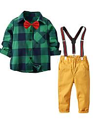 cheap -Kids Toddler Boys' Basic Birthday Party Party & Evening Black & White Plaid Print Long Sleeve Regular Regular Clothing Set Green