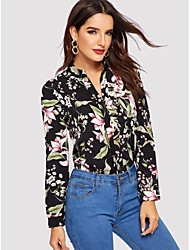 cheap -Women's Plus Size Geometric Blouse Holiday Going out Black