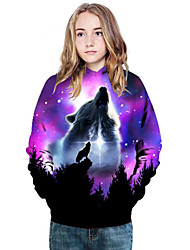 cheap -Kids Girls' Active Punk & Gothic Color Block 3D Animal Long Sleeve Hoodie & Sweatshirt Purple