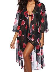 abordables -Femme Basique Noir Vêtement couvrant Maillots de Bain - Fleur Géométrique Imprimé Taille unique Noir