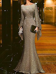 cheap -Mermaid / Trumpet Jewel Neck Floor Length Polyester Sparkle / Gold Engagement / Formal Evening Dress with Sequin 2020
