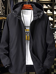 cheap -Men's Daily Fall & Winter Regular Jacket, Solid Colored Hooded Long Sleeve Polyester Black / Blue