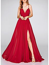 cheap -A-Line Spaghetti Strap Sweep / Brush Train Polyester Empire / Red Engagement / Prom Dress with Split Front 2020