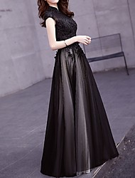 cheap -A-Line High Neck Floor Length Polyester Retro / Black Prom / Formal Evening Dress with Appliques / Crystals 2020