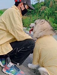 cheap -Dog Cat Costume T-shirts Matching Outfits Dog Clothes Breathable Yellow Costume Husky Labrador Alaskan Malamute Cotton Plaid / Check Spots & Checks Casual / Sporty Men M Men L M L XL XXL