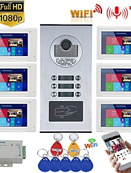 cheap -7inch Record Wired Wifi Video Intercom 6 Apartments with 6 Family RFID Doorphone System IR-CUT HD 1080P Doorbell Camera