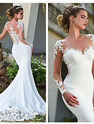 cheap -Mermaid / Trumpet Jewel Neck Court Train Lace Long Sleeve Formal / Casual / Vintage Illusion Sleeve Wedding Dresses with 2020
