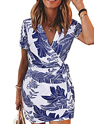 cheap -Women's 2020 Slim Sheath Dress - Geometic V Neck Spring & Summer Black Blue S M L XL