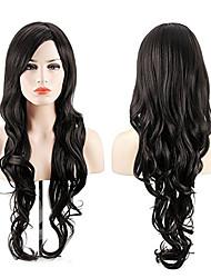 お買い得  -人工毛ウィッグ コスチュームウィッグ 強調表示された髪 ウェーブ サイドパート かつら ロング ブラック 合成 26inch 女性用 コスプレ ソフト 調整可 ブラック / 耐熱 / 耐熱