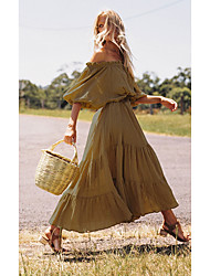 cheap -Women's Maxi Swing Dress - Solid Colored Off Shoulder Khaki One-Size