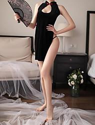 abordables -Femme Uniformes & Tenues Chinoises / Costumes Vêtement de nuit Découpé / Noeud, Couleur Pleine Noir Taille unique