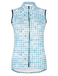 cheap -21Grams Women's Sleeveless Cycling Jersey Cycling Vest 100% Polyester Sky Blue Plaid / Checkered Bike Jersey Top Mountain Bike MTB Road Bike Cycling UV Resistant Breathable Quick Dry Sports Clothing